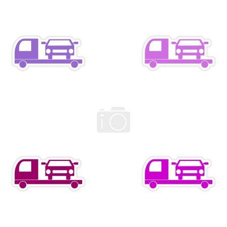 Illustration pour Conception d'assemblage réaliste autocollant sur voiture de camion de remorquage papier - image libre de droit