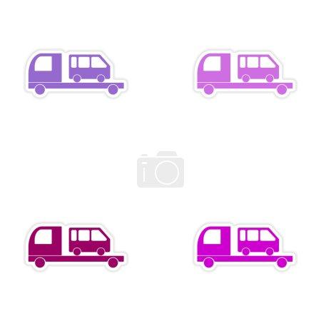 Illustration pour Conception d'assemblage autocollant réaliste sur le transport par autobus papier voiture - image libre de droit