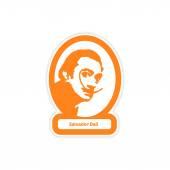 paper sticker on white background Salvador Dali