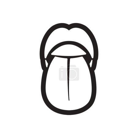 Illustration for Stylish black and white icon human tongue - Royalty Free Image
