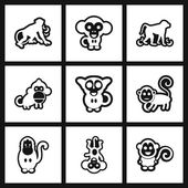 assembly stylish black and white icons monkey