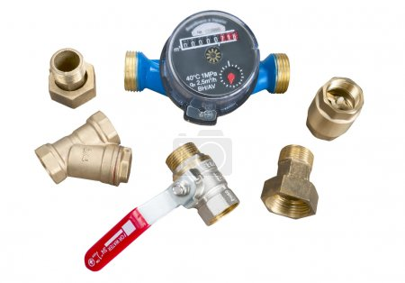 water meter and various plumbing fittings