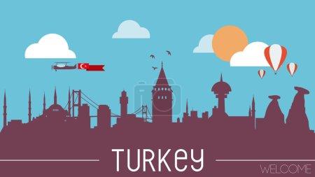Illustration pour Illustration vectorielle design plat silhouette skyline Turquie - image libre de droit