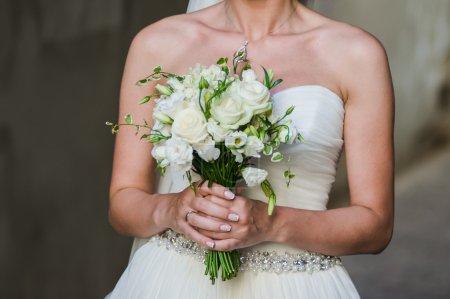 Big wedding bouquet.