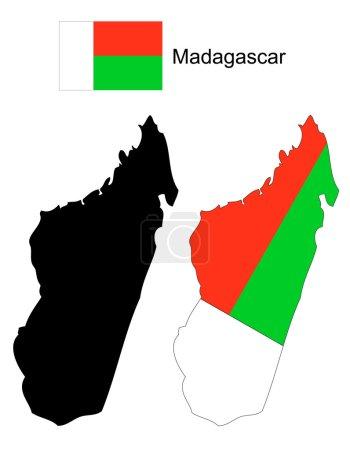 Мадагаскар карта и векторный флаг