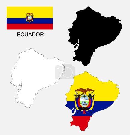 Ecuador map and flag vector, Ecuador map, Ecuador flag