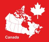 Canada map in red background canada map vector map vector maple leaf