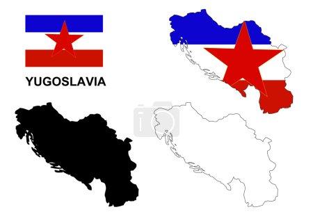 Yugoslavia map vector, Yugoslavia flag vector, Yugoslavia isolated white background