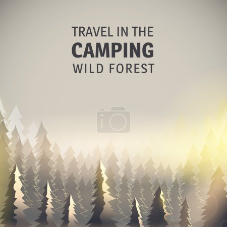 Illustration for Illustration of trees, wildlife, solar illumination, can be used for camping background. - Royalty Free Image