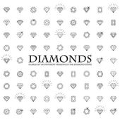 Diamonds Icons set design element symbol of the success of wealth and fame