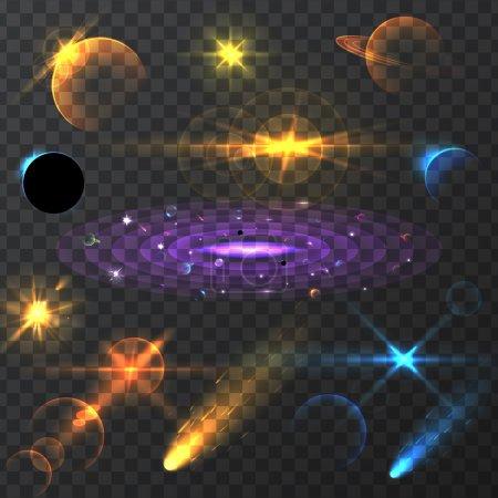 Illustration pour Effets de lumière, effet d'éclairage réaliste, effet de lueur lumineuse, luminescence vectorielle pour la conception, illustration d'un ensemble d'effets de lumière et de lueur, étoiles brillantes, effets de lumières et d'étincelles , - image libre de droit