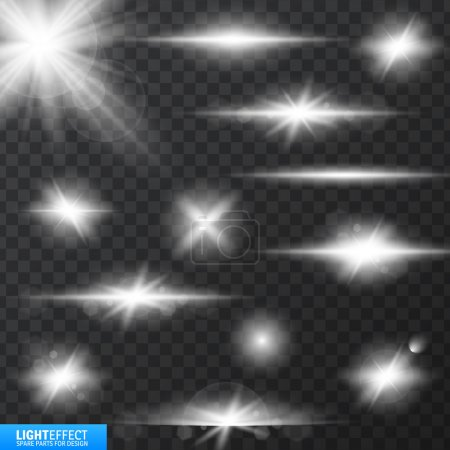 Illustration for Light effects, realistic lighting effect , light glow effect , vector glow luminescence for design, illustration of a set of light and glow effect,  Glowing stars,  Lights and Sparkles  effect, - Royalty Free Image