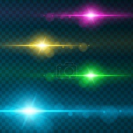 Illustration pour Ensemble de verres abstraits Flares.Design de rechange. Des étoiles brillantes. Lumières et scintillements sur fond transparent. Effets de lumière transparents pour votre conception. Illustration vectorielle . - image libre de droit