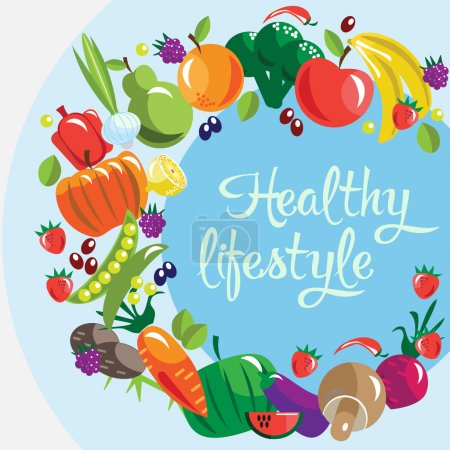 Illustration for Illustration of healthy lifestyle with different types of fruits and vegetables - Royalty Free Image