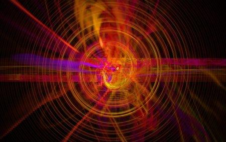 Photo pour Perturbation du noyau atomique et des particules élémentaires dans un état instable sous la forme d'une spirale de défilement de boule de feu qui fait rage. Grafics d'art fractal - image libre de droit