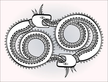 Decorative ethnic pattern in style of Indian and Northern Russian populations of stylized snakes chase each other. EPS10 vector illustration.