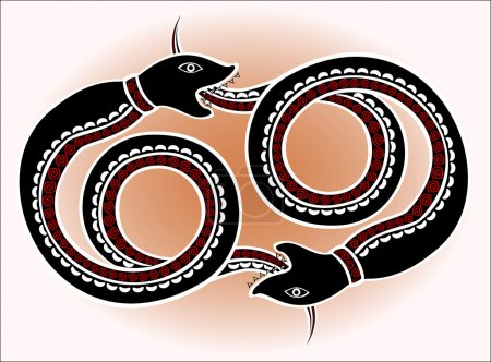 Decorative ethnic pattern in style of the legend of Indian and Northern Russian populations of stylized black snakes chase each other. EPS10 vector illustration.