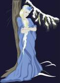 Snow Queen near a Christmas tree EPS10 vector illustration