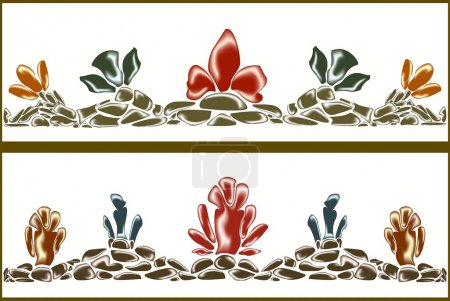 Set of borders of colorful stone flowers. EPS10 vector illustration