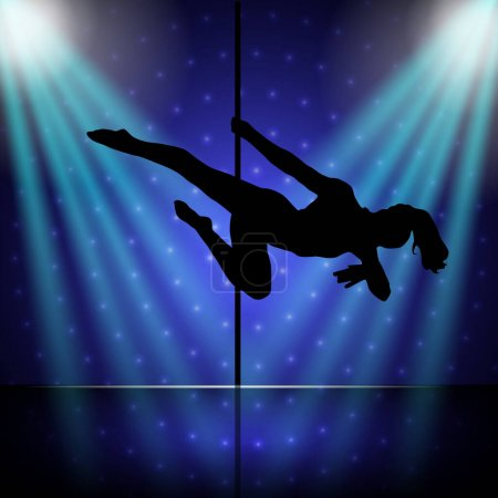 Illustration pour Belle silhouette de jeunes femmes dansant une strip-tease.Sexy pole dance - image libre de droit