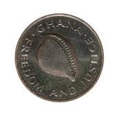 Ghana cedi mince dvacet izolovaných na bílém pozadí. pohled shora