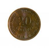 Dvacet oběžné mince Portugalsko izolovaných na bílém pozadí. na