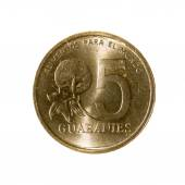 Mince pět guaraní Paraguay izolovaných na bílém pozadí. vrchol
