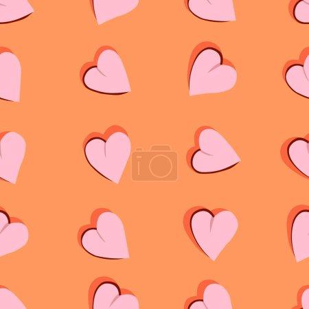 Illustration pour Motif sans couture avec l'image de cœurs roses sur un fond de corail pour les impressions sur tissu, emballage, vêtements pour décorer des cadeaux, cartes de vœux et pour la décoration intérieure - image libre de droit