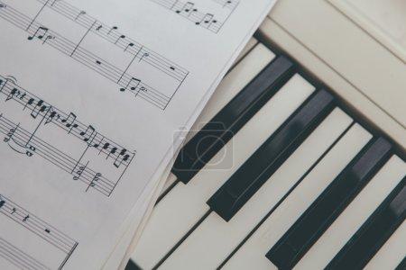 Photo for Piano keyboard and music notes sheet - Royalty Free Image
