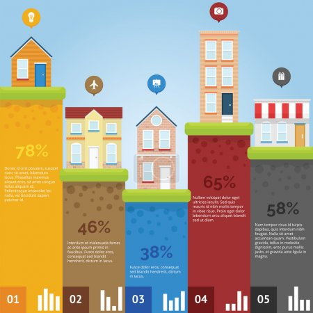 Illustration for City infographic chart with flat design and bright color - Royalty Free Image