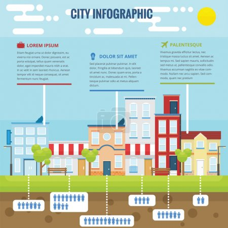 Illustration for Summer city infographic with flat design and bright color - Royalty Free Image