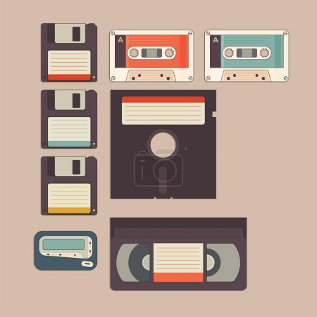 Old stuff from 90s and 80s in vintage style icon...