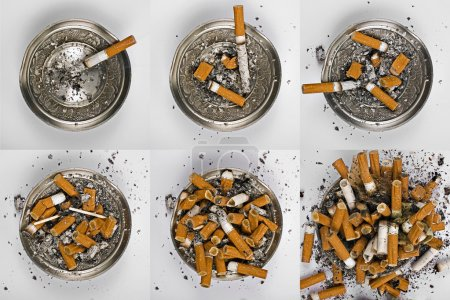Six ashtray with cigarette butts