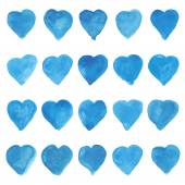 Set of blue watercolor love sweet hearts for greeting