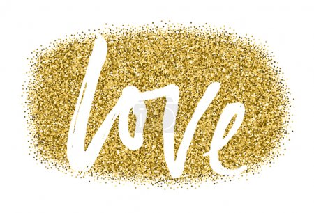 Illustration for Gold sparkles on white background. Gold glitter background. Gold club logotype, logo, icon for card, vip, exclusive, certificate, gift, luxury, privilege, voucher, store, present, shopping. - Royalty Free Image