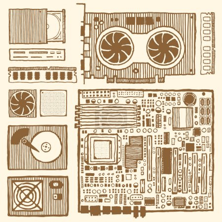 Illustration for Components of desktop computer. Hand drawn pen and ink. Vintage style. Motherboard, ram, graphic card, optical disc drive, power supply unit, computer fun, hard disc drive, CPU, card reader - Royalty Free Image