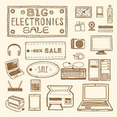 Big electronics sale Set of electronic devices Vintage style hand drawn pen and ink  Vector clip art for scrapbooking or wrapping Retro design element for packaging flyer banner advertisement