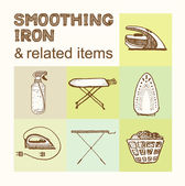 Smoothing Iron and related items collection Vintage style hand drawn pen and ink  Vector clip art set for flyer business card of home appliances shop or household goods store Retro design element