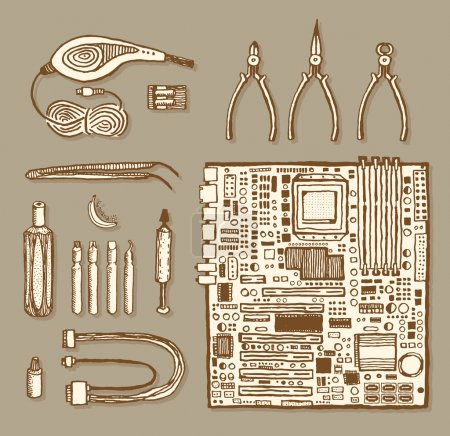 Illustration for Motherboard and related items. Vintage style, hand drawn pen ink. Vector clip art set for flyer, business card of electronics shop or computer repair service center. Retro design element - Royalty Free Image