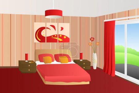 Illustration for Modern interior bedroom beige red bed pillows lamps window illustration vector - Royalty Free Image
