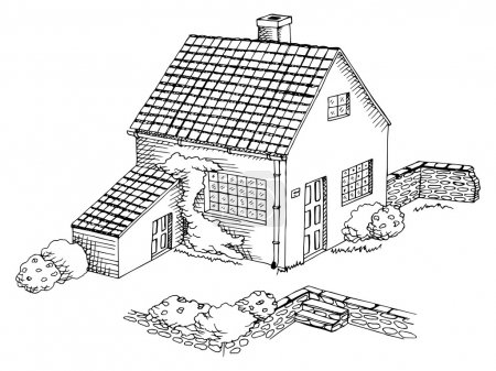 Village house graphic art black white landscape illustration vector