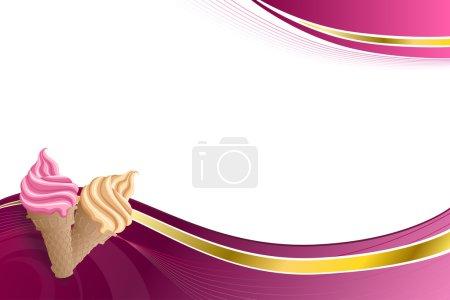 Illustration pour Arrière-plan abstrait rose beige vanille crème glacée illustration or ruban cadre vecteur - image libre de droit