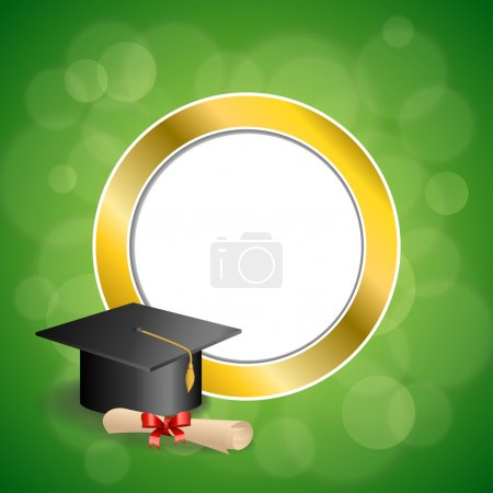 Illustration for Background abstract green education graduation cap diploma red bow gold circle frame illustration vector - Royalty Free Image