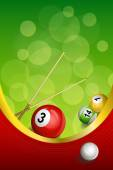 Background abstract green billiards pool cue red ball frame vertical gold ribbon illustration vector