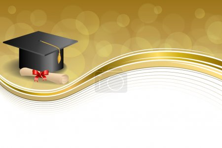 Illustration for Background abstract beige education graduation cap diploma red bow gold frame illustration vector - Royalty Free Image