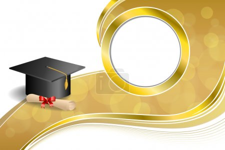 Illustration for Background abstract beige education graduation cap diploma red bow gold circle frame illustration vector - Royalty Free Image