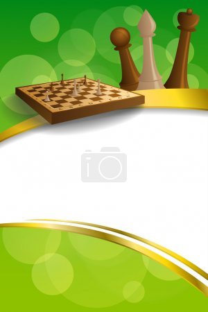 Background abstract green gold chess game brown beige board figures gold frame ribbon vertical illustration vector