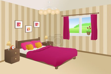 Illustration for Modern bedroom beige pink bed yellow pillows lamps window illustration vector - Royalty Free Image