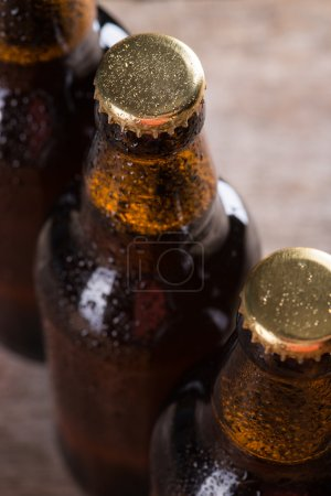 Freshly brewed beer bottles in a row over the grey concrete wall