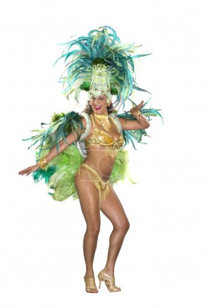 Carnival, Samba Dancer, dressed in feather costume.